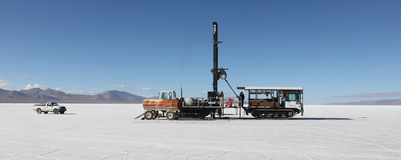 Sonic core drilling in the Olaroz Salar, Argentina.